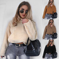 Women Winter Fluffy Crop Top Turtleneck Pullover Coat Warm Ladies Sweater Jumper