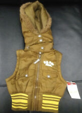 Nwt Baby Girls U.S Polo Association Brown Gold Vest Removable Hood 0 3 6 Mos New
