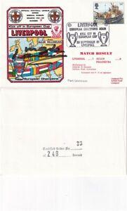 30 SEP 1981 LIVERPOOL v OULUN PALLSEURA CUP FOOTBALL COVER SIGNED MARK LAWRENSON
