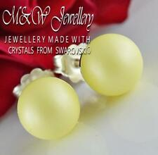 925 Silver Stud Earrings Crystals From Swarovski® PEARL Pastel Yellow 8mm