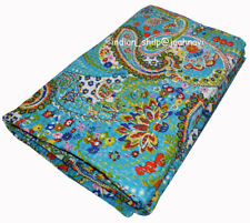 Indian Cotton Ethnic Bedding Bed Cover Queen Kantha Quilt Blanket Paisley Print