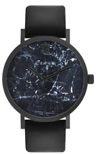 WOMENS MENS FASHION DRESS WATCH 100% LEATHER BAND BLACK MARBLE ANALOG 5ATM