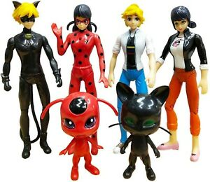 6 PCs Miraculous Ladybug Tikki Noir Cat Plagg Adrien Action Figure Doll Toys US