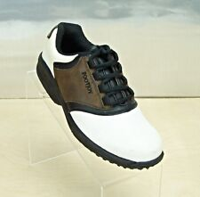 Footjoy White Brown Leather Saddle Style Golf Shoe Soft Spike Youth Size 4 MINT