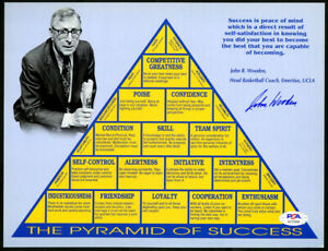 Coach John Wooden SIGNED 8x10 Photo Pyramid of Success UCLA PSA/DNA AUTOGRAPHED
