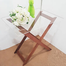 Acrylic Perspex Clear Timber Folding Tray Table Tables 60cm H x 64cm W x 47cm D