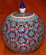 "9""x8"" Handmade Turkish Iznik Seljuk Geometric Pattern Ceramic Jar Urn Canister"