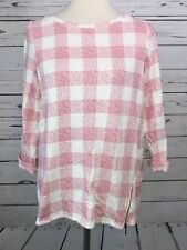 J Jill Sweatshirt Small Pullover Plaid Pullover Pink White Long Sleeve Shirt