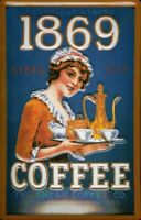 THE SHEAR COFFEE 1869 STEEL CUT EMBOSSED METAL ADVERTISING KITCHEN SIGN 30x20cm