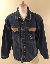 Rare Vintage KARL KANI Blue Denim Jean Button Up Jacket Sz XL Hip Hop