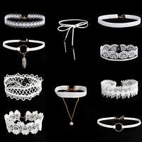 10PCS White Flower Lace Velvet Choker Collar Necklace Vintage Chain Jewelry Set