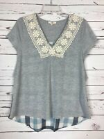 ENTRO Boutique Women's S Small Gray Plaid Thermal Lace Top Shirt Tee Blouse