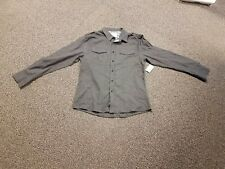 NO RETREAT Mens XX Large Cotton Blend Charcoal Long Sleeve Button Up Shirt New