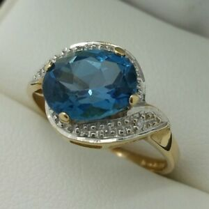9ct Yellow Gold London Blue Topaz & Diamond Ring, Finger Size L 1/2