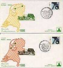 3 x Speciale Postkoetsenrace 1986 op Philato Covers - Blanco / Open klep