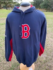 Men's Majestic Boston Red Sox hoodie sweatshirt navy blue XL