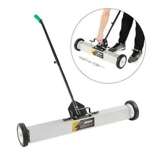 """36"""" Magnetic Sweeper / broom Lawn Yard Grass Floor Rolling Nail Pickup Wheeled"""