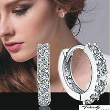 Women Jewelry White Gemstones Crystal 925 Silver Plated Hoop Earring Fashion CH