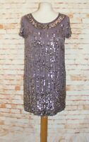 French Connection party dress size 6 shift short sleeve beaded/sequins mauve