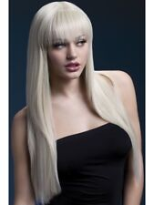 """Long Blonde Fringed Wig Straight 26"""" Fancy Dress Deluxe Accessory"""