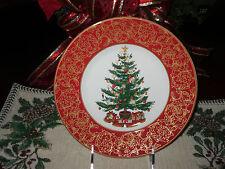 222 FIFTH O'TANNENBAUM SET/4 SALAD PLATES CHRISTMAS TREE HOLIDAY NEW