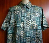 Makapuu XL Men's Short Sleeve 100% Cotton Blend Blue Floral Hawaiian Shirt