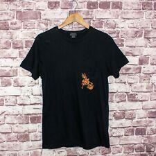 EN NOIR Short Sleeve Crew Tee T-Shirt Black Cotton Embroidered Check Pocket M