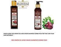 Khadi Global Red Onion Oil & Shampoo combo Pack, 200ml each for Total Hair Care