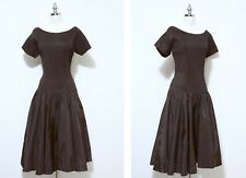 Vintage 1940'sHenry Rosenfeld Dress   Rich Chocolate Color   Fit & Flair Style