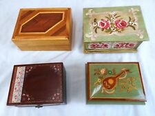 Lot of 4 Beautiful Jewelry/Trinket Music Boxes--Reuge & Other Makers