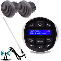 "Marine Radio Bluetooth Stereo + 4"" 2 Way Speaker Outdoor + FM AM Antenna"