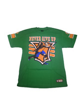 John Cena U CAN'T C ME Never Give Up 15X Green WWE Authentic T-Shirt NEW