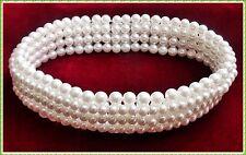 Top 7 reihiges Perlen Halsband Kropfkette Halskette Cocker Perlenkette dehnbar