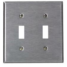 200 Pk Leviton Stainless Steel 2 Toggle Switch Wall Plate Cover 003-84009