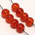 Lot de 50 Perles Craquelées en Verre 6mm Orange