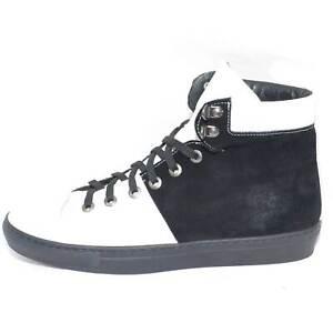 Scarpe uomo sneakers alta bicolore bianco e nero vera pelle scamosciata linea gl
