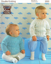 LISTER 2000 ~ TWO x JUMPERS for BABY BOYS & GIRLS, WARM & QUICK TO KNIT 8py yarn