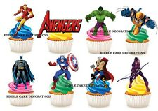 30 Marvel Super Hero STAND UP Cupcake Cake Topper Edible Rice Paper Decorations