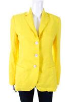 Ralph Lauren Black Label Womens Three Button Blazer Yellow Linen Size 2