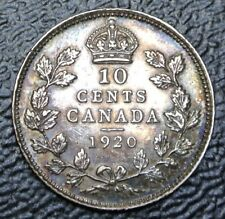 OLD CANADIAN COIN 1920 - 10 CENTS - .800 SILVER - George V - Gorgeous Rainbow