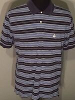 Brooks Brothers 346 Original Fit Mens Large Blue Striped Short Sleeve Polo Shirt