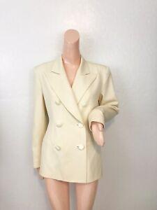 Tahari Vintage Ivory Doublebreasted Blazer Jacket Size 4