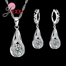 925 Sterling Silver Clear Cubic Zirconia Necklace and Earring Set & Velvet Pouch
