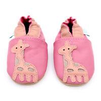 Dotty Fish Soft Leather Baby Girls Shoes - Pink Giraffe - Newborn to 2-3 Years