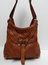 Kooba Whiskey Brown Leather Studded Hobo Shoulder Bag