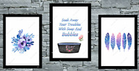 Bathroom set of 3, wall prints, poster, bath, UK, art Pictures A4 Blue/Purple
