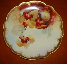 "LIMOGES PICKARD HAND PAINTED PLATE  ARTIST ""M.KLIPPHAHN"", RED FRUIT, 8 1/2"""