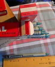"Box of 12 Green * Staonal Binney & Smith #1 Checking Crayon 6"" Long *vintage"