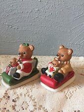 """Home Interior Homco collective bears,""""Christmas Sleigh""""sled set of 2, #5102"""