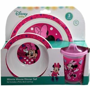 Disney Minnie Mouse Kids Plastic Plate, Bowl & Cup Mealtime Gift Set 3 Pieces